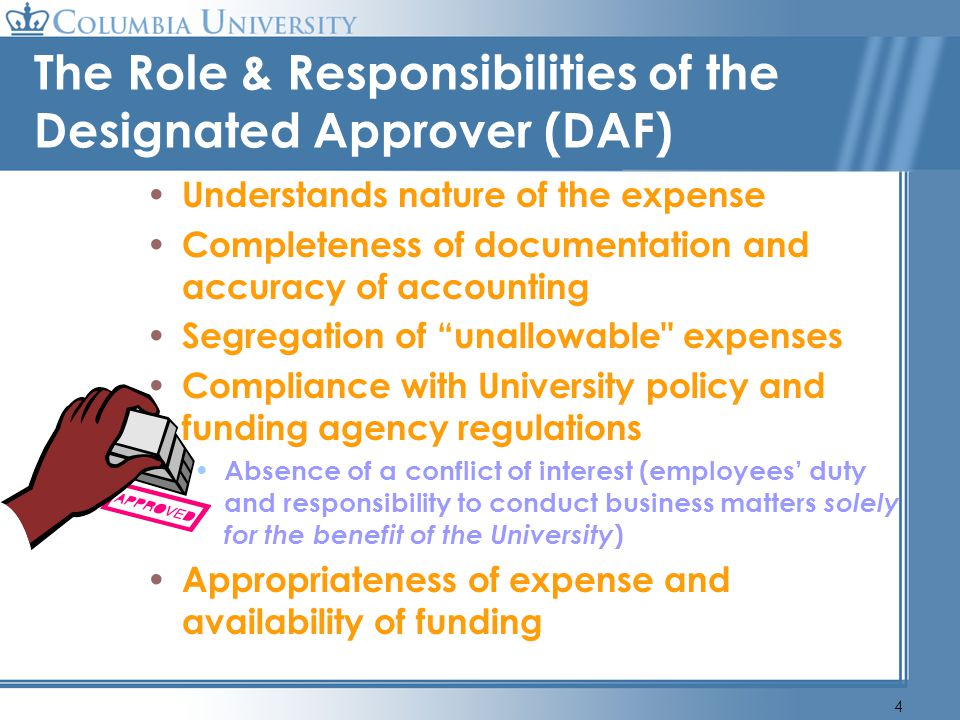 The Role & Responsibilities of the Designated Approver (DAF)