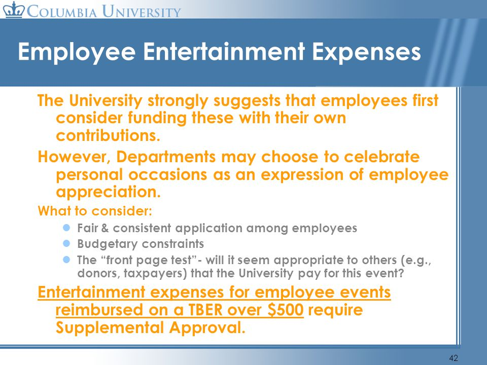 Employee Entertainment Expenses