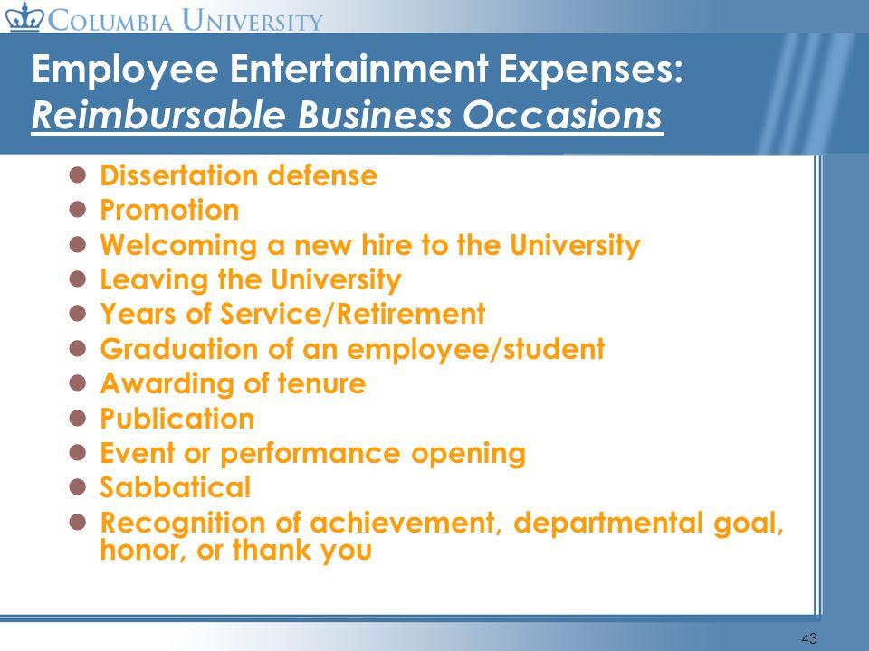 Employee Entertainment Expenses: Reimbursable Business Occasions