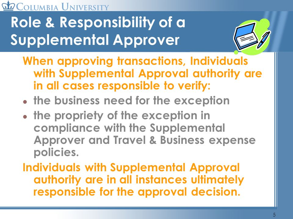 Role & Responsibility of a Supplemental Approver