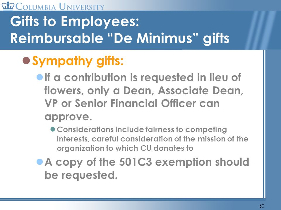Gifts to Employees: Reimbursable De Minimus gifts