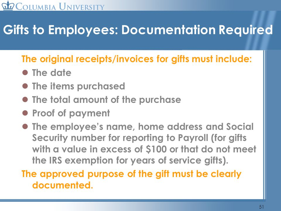 Gifts to Employees: Documentation Required