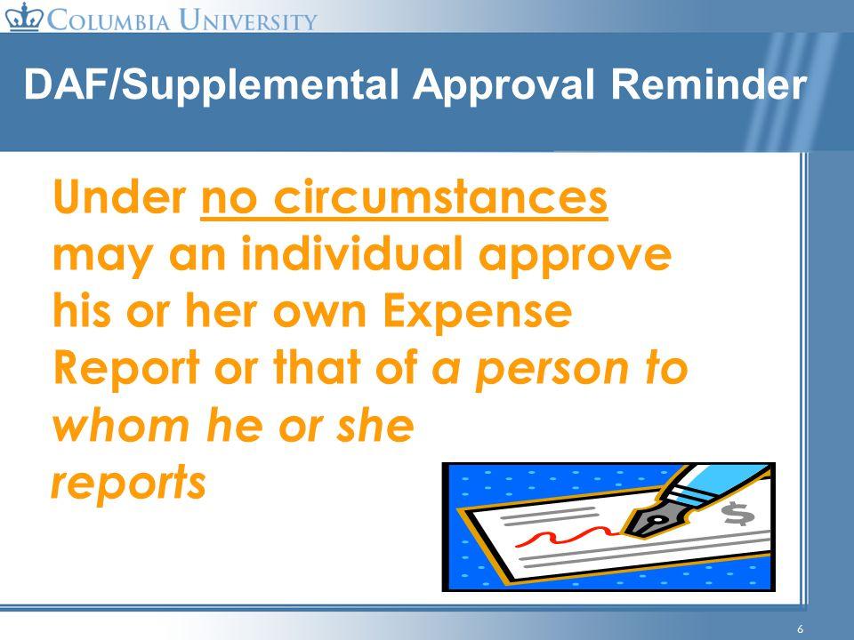 DAF/Supplemental Approval Reminder