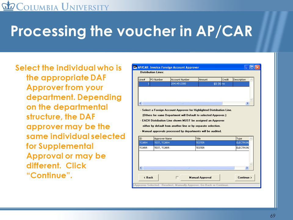 Processing the voucher in AP/CAR