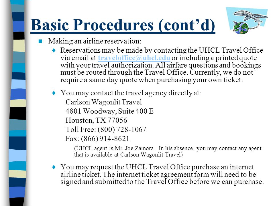 Basic Procedures (cont'd)