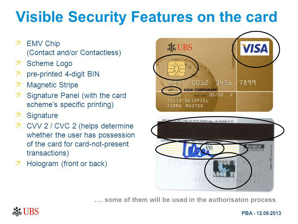 Visible Security Features on the card