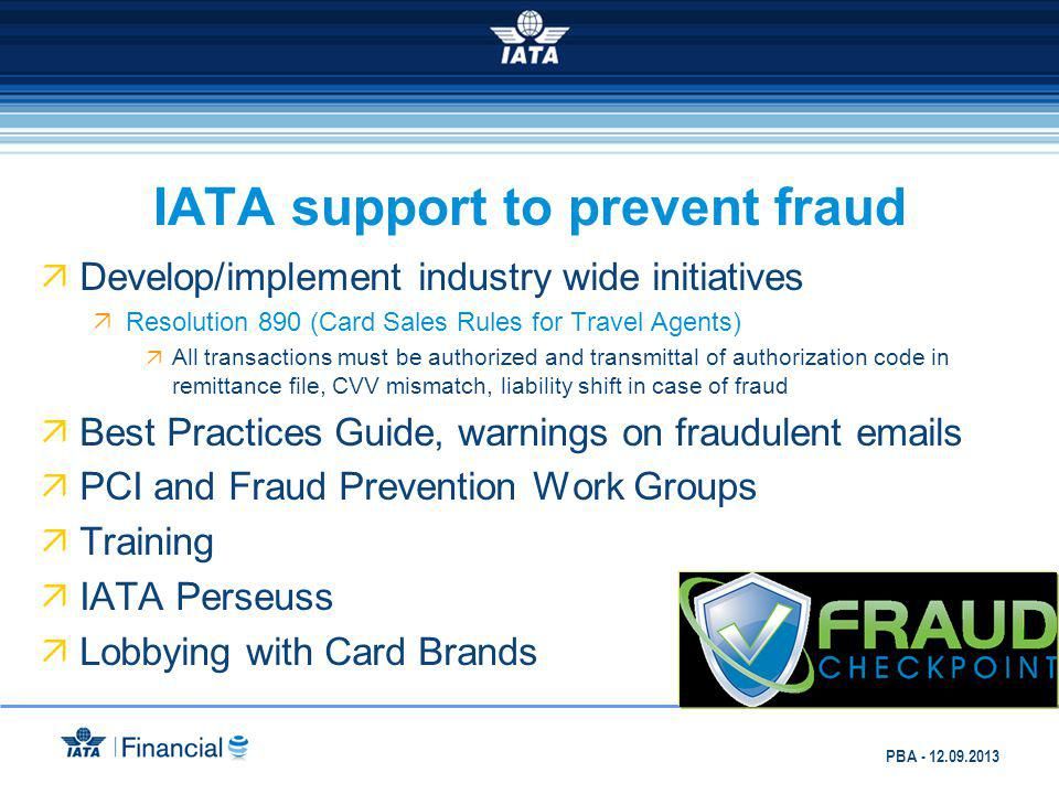 IATA support to prevent fraud