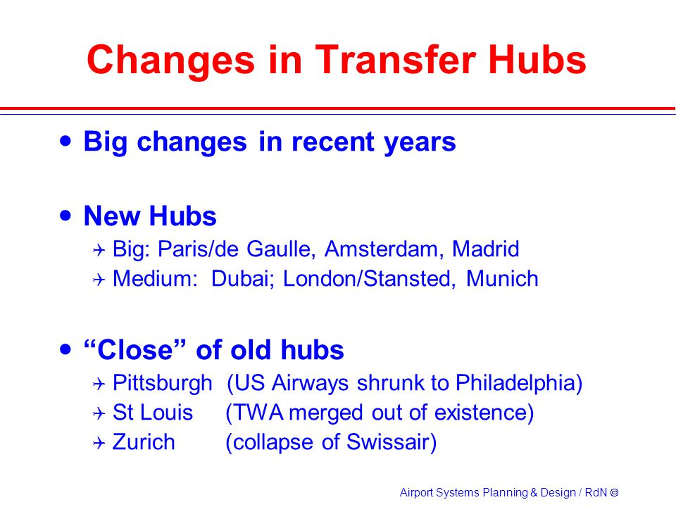 Changes in Transfer Hubs