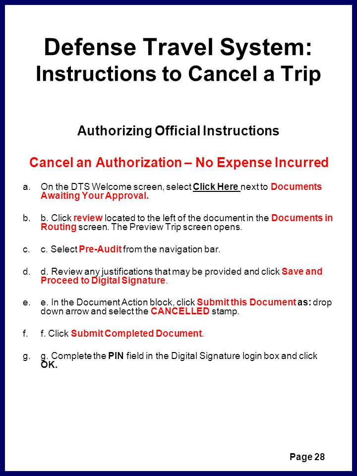 Defense Travel System: Instructions to Cancel a Trip