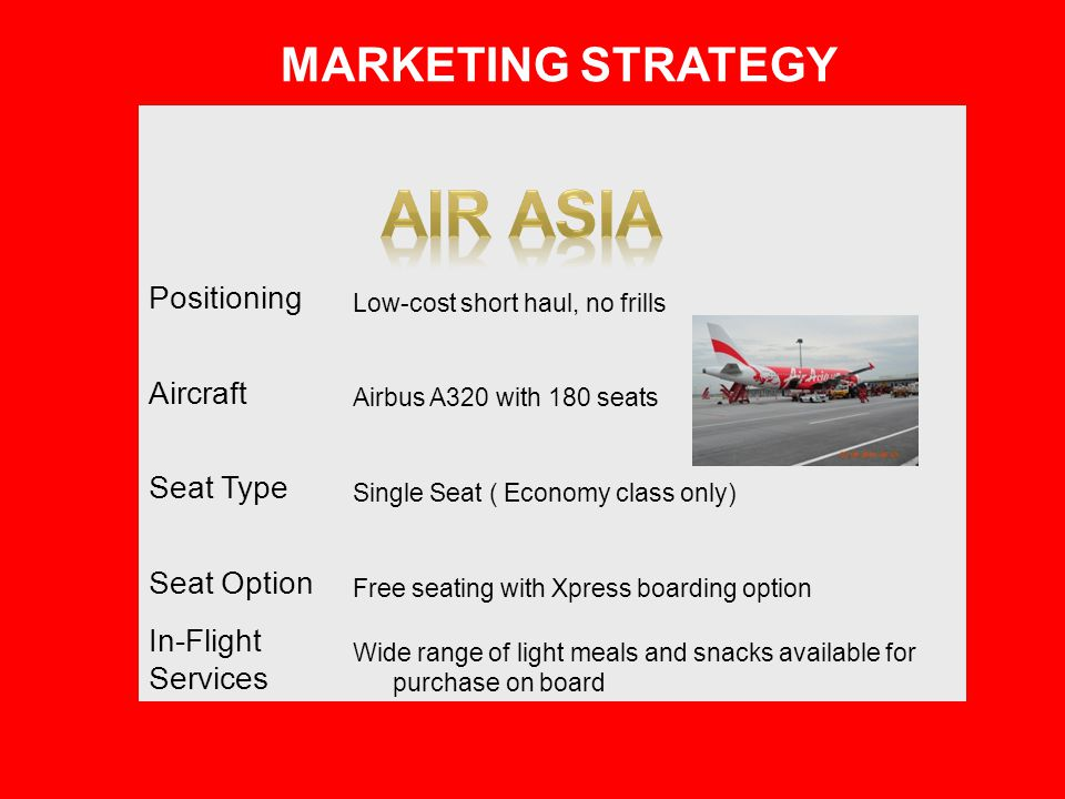 AIR ASIA Marketing Strategy Positioning Aircraft Seat Type Seat Option