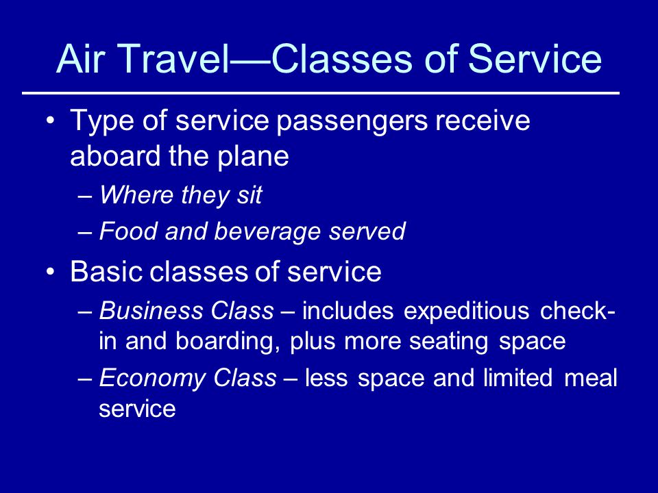 Air Travel—Classes of Service