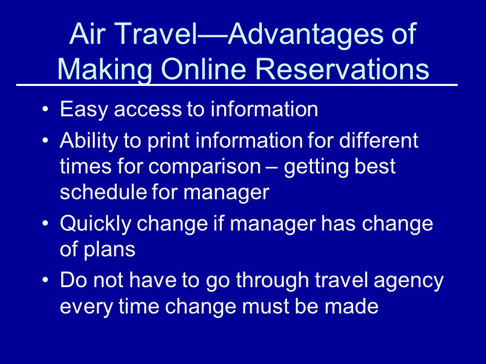 Air Travel—Advantages of Making Online Reservations