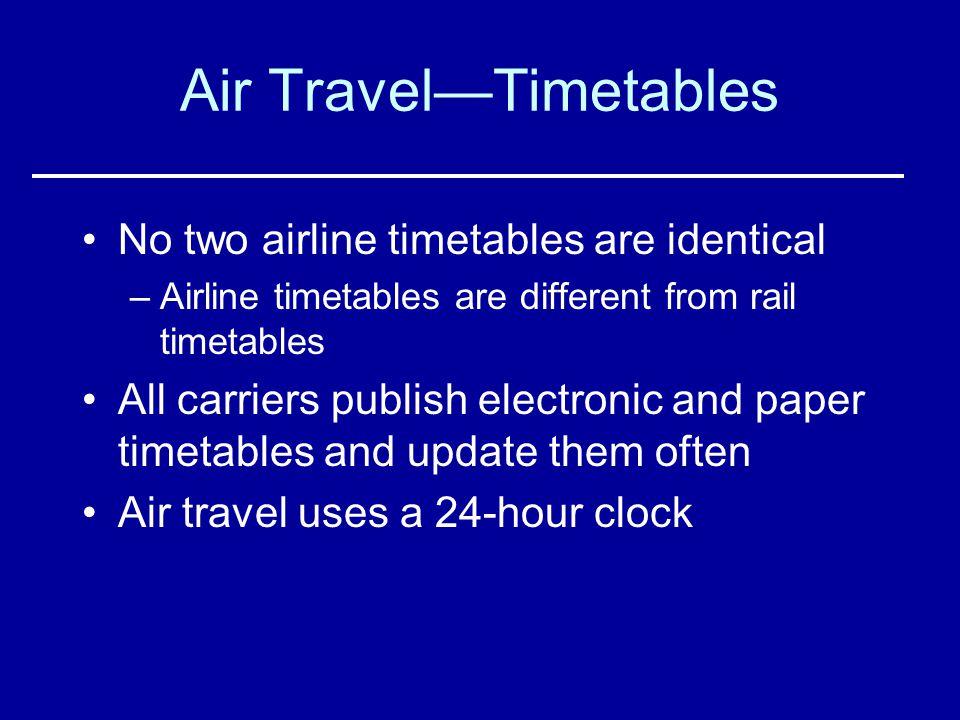 Air Travel—Timetables