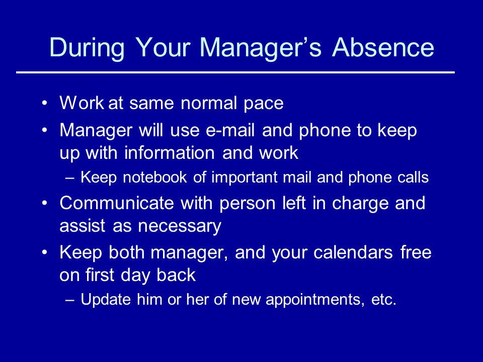 During Your Manager's Absence