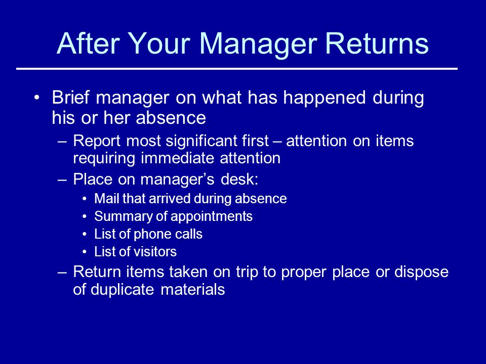 After Your Manager Returns