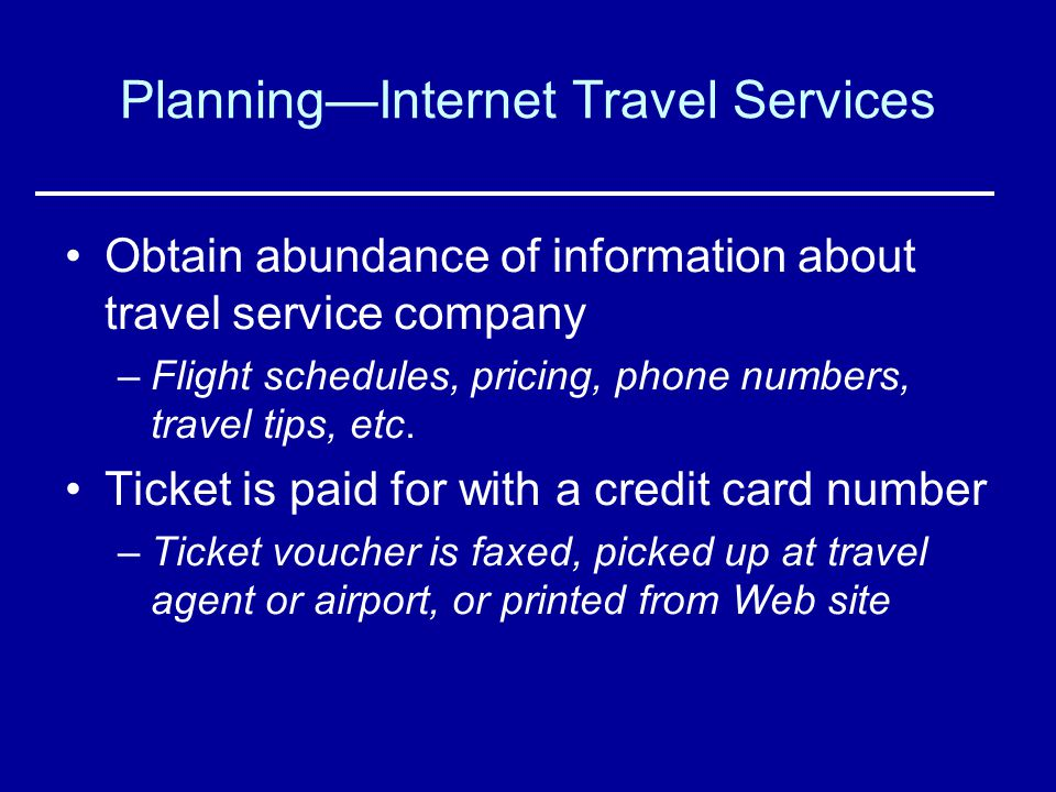 Planning—Internet Travel Services