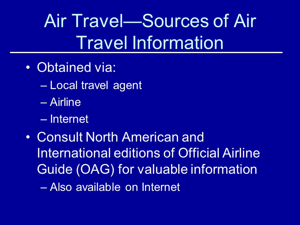 Air Travel—Sources of Air Travel Information