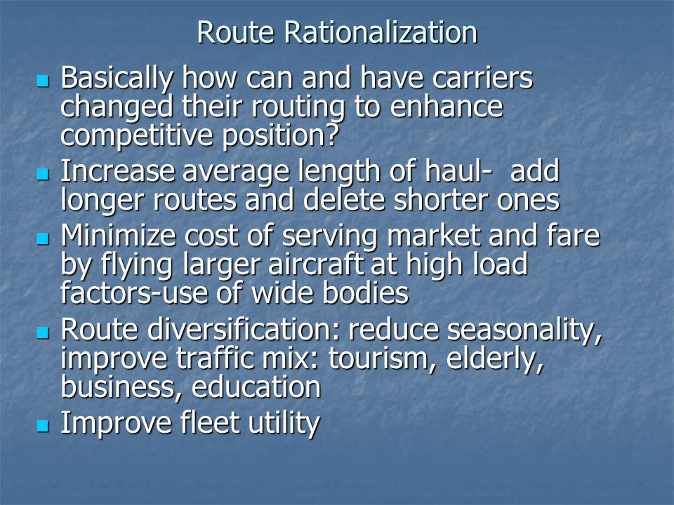 Route Rationalization