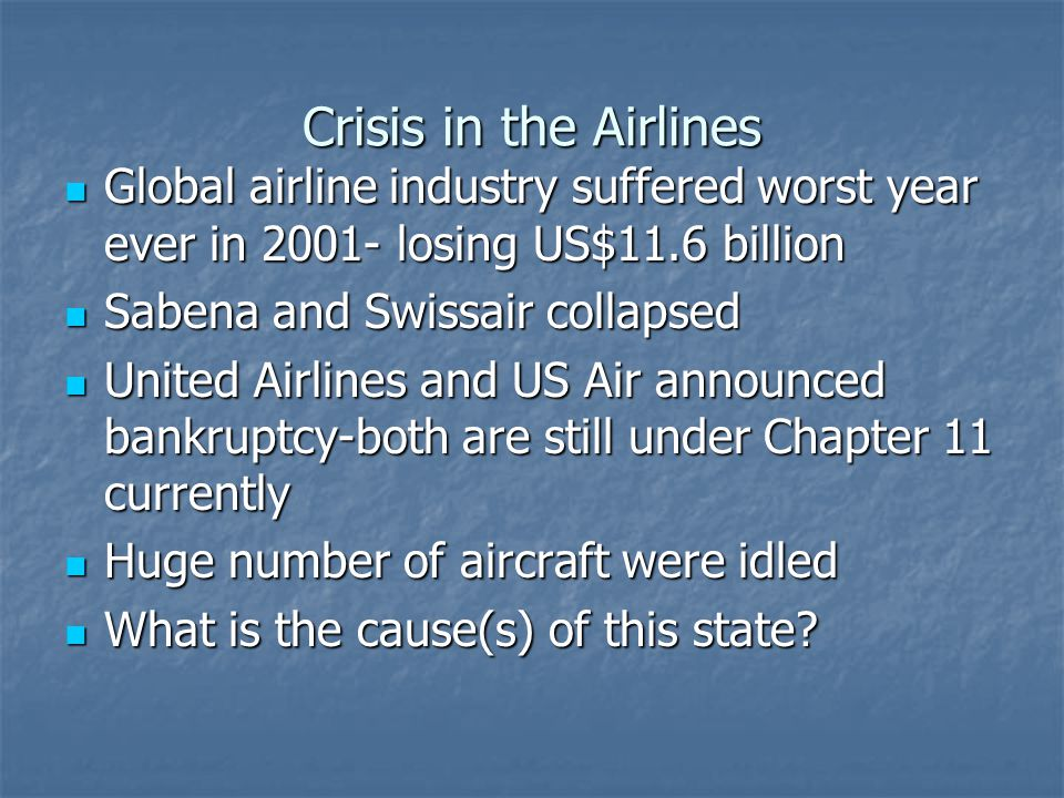 Crisis in the Airlines Global airline industry suffered worst year ever in 2001- losing US$11.6 billion.