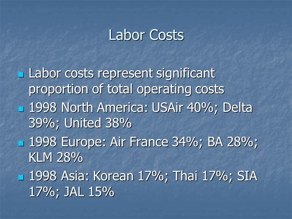 Labor Costs Labor costs represent significant proportion of total operating costs. 1998 North America: USAir 40%; Delta 39%; United 38%
