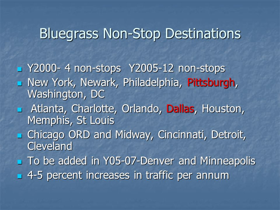 Bluegrass Non-Stop Destinations