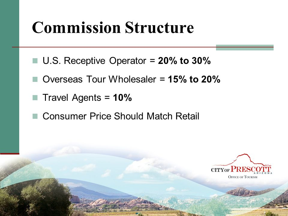 Commission Structure U.S. Receptive Operator = 20% to 30%