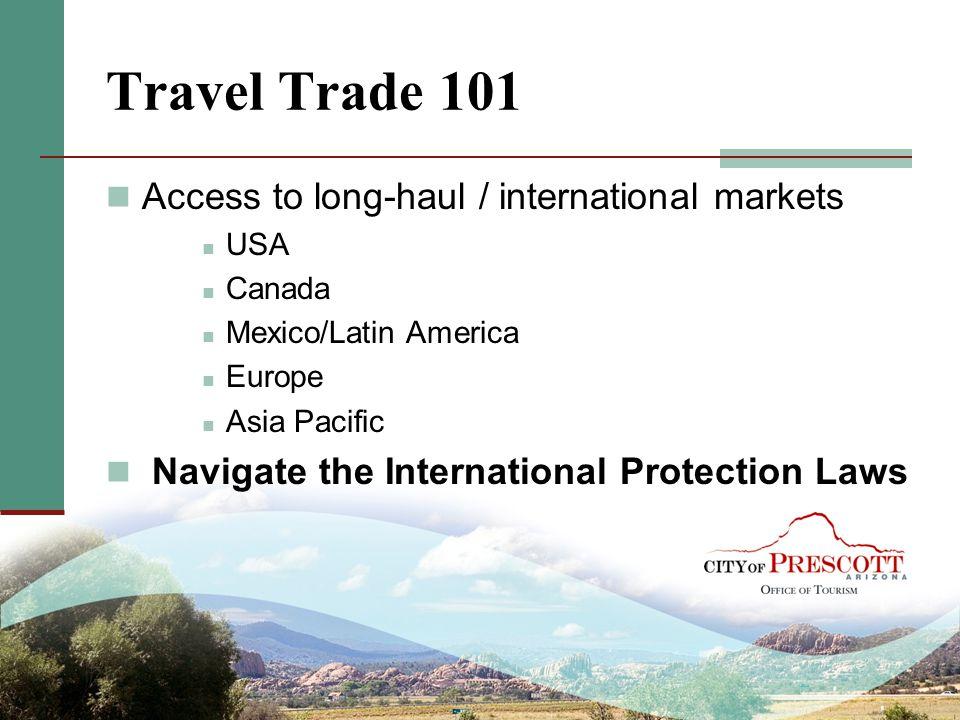 Travel Trade 101 Access to long-haul / international markets