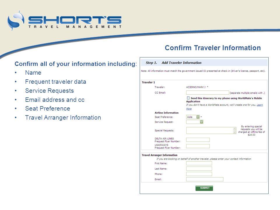 Confirm Traveler Information