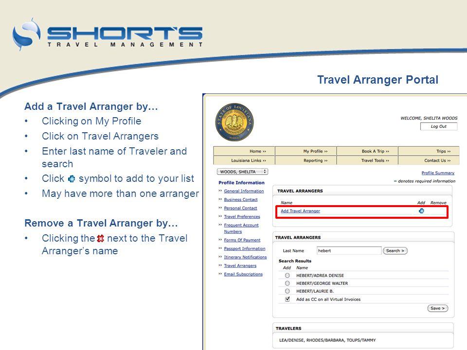 Travel Arranger Portal