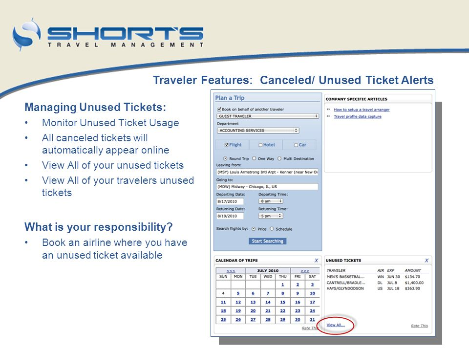 Traveler Features: Canceled/ Unused Ticket Alerts