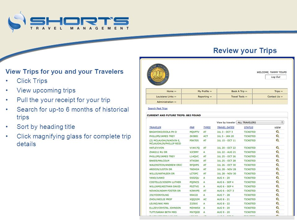 Review your Trips View Trips for you and your Travelers Click Trips