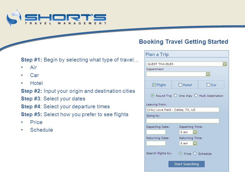 Booking Travel Getting Started