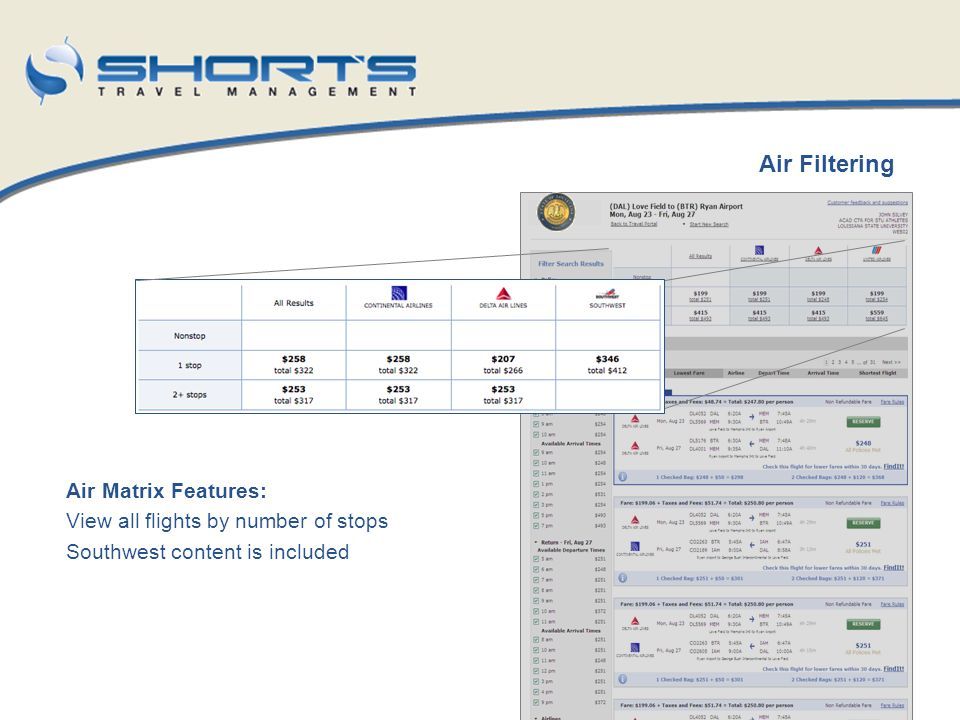 Air Filtering Air Matrix Features: View all flights by number of stops