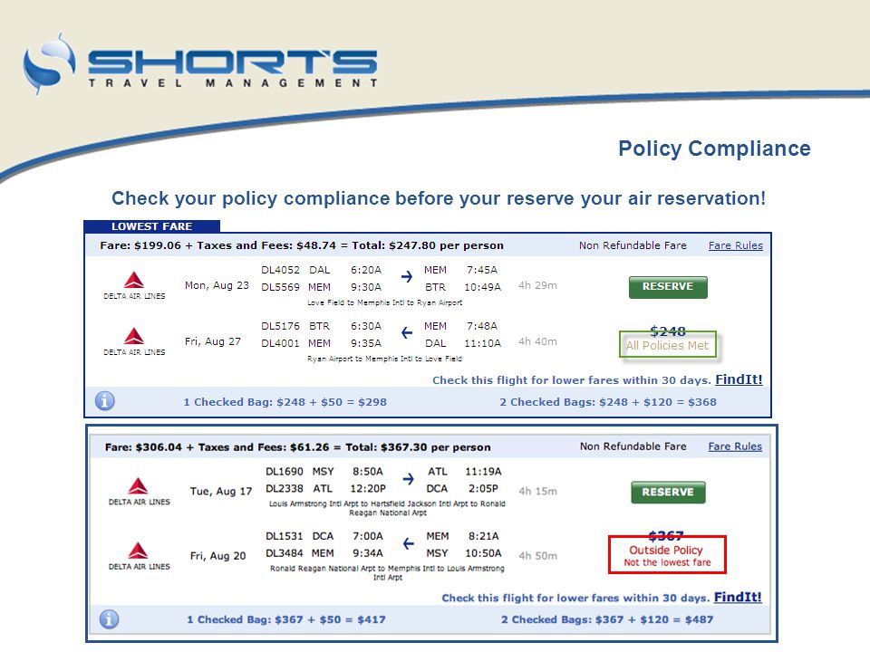 Check your policy compliance before your reserve your air reservation!