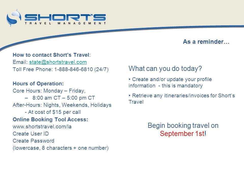 Begin booking travel on September 1st!