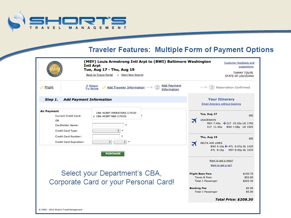 Select your Department's CBA, Corporate Card or your Personal Card!