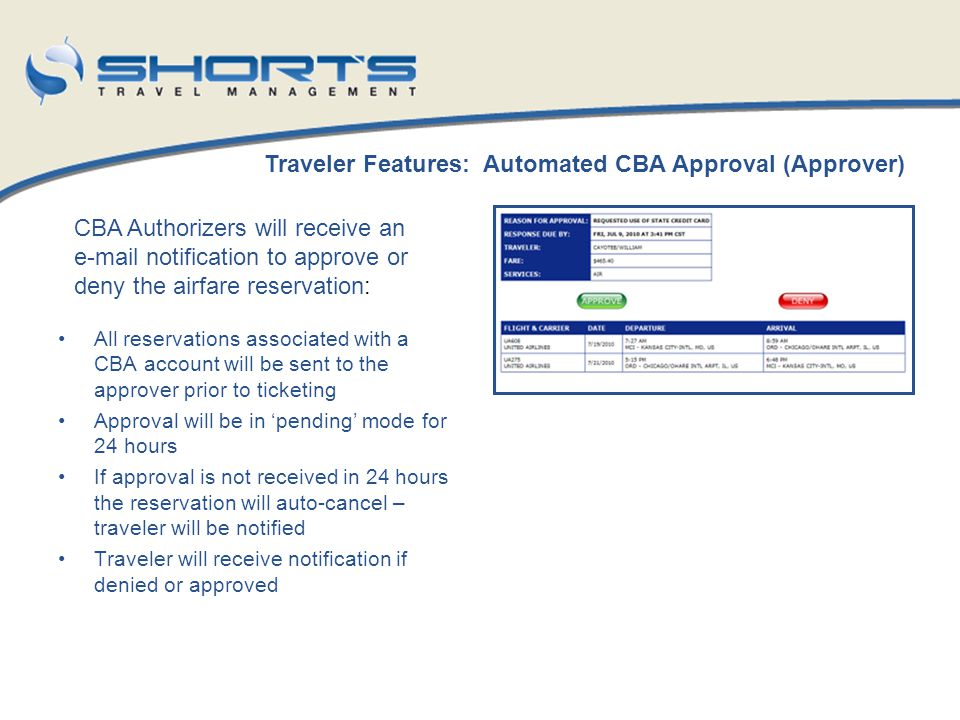 Traveler Features: Automated CBA Approval (Approver)