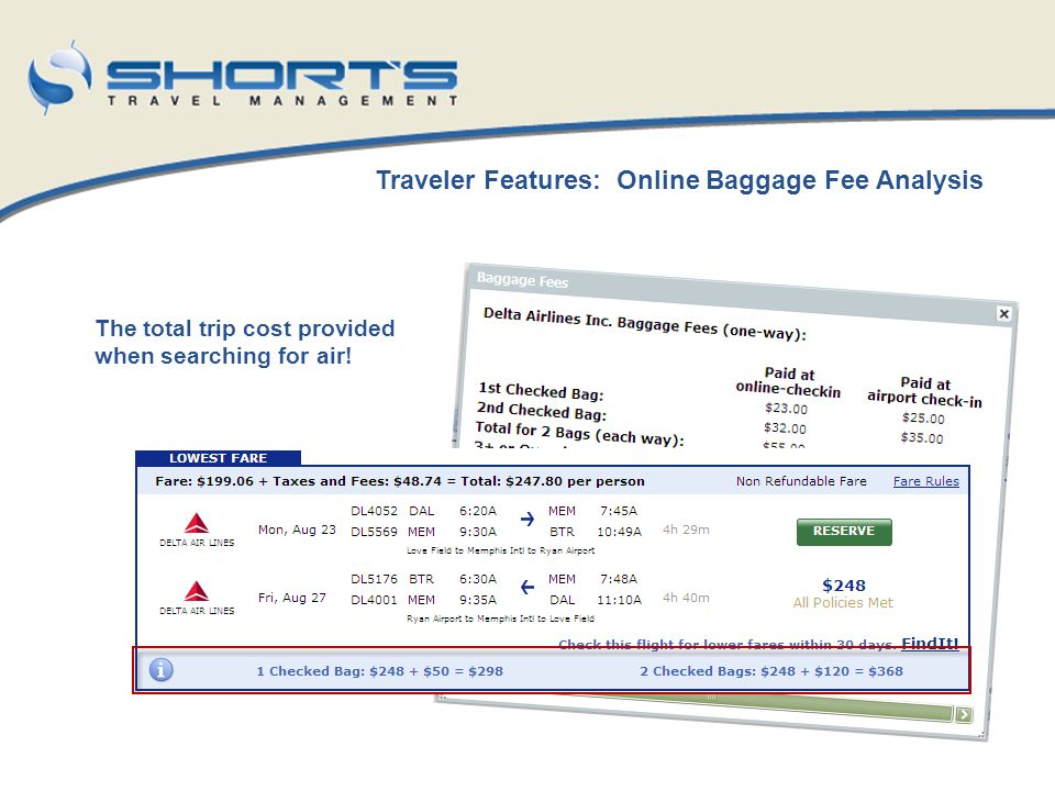 Traveler Features: Online Baggage Fee Analysis