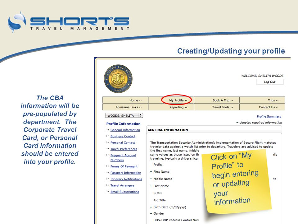 Creating/Updating your profile