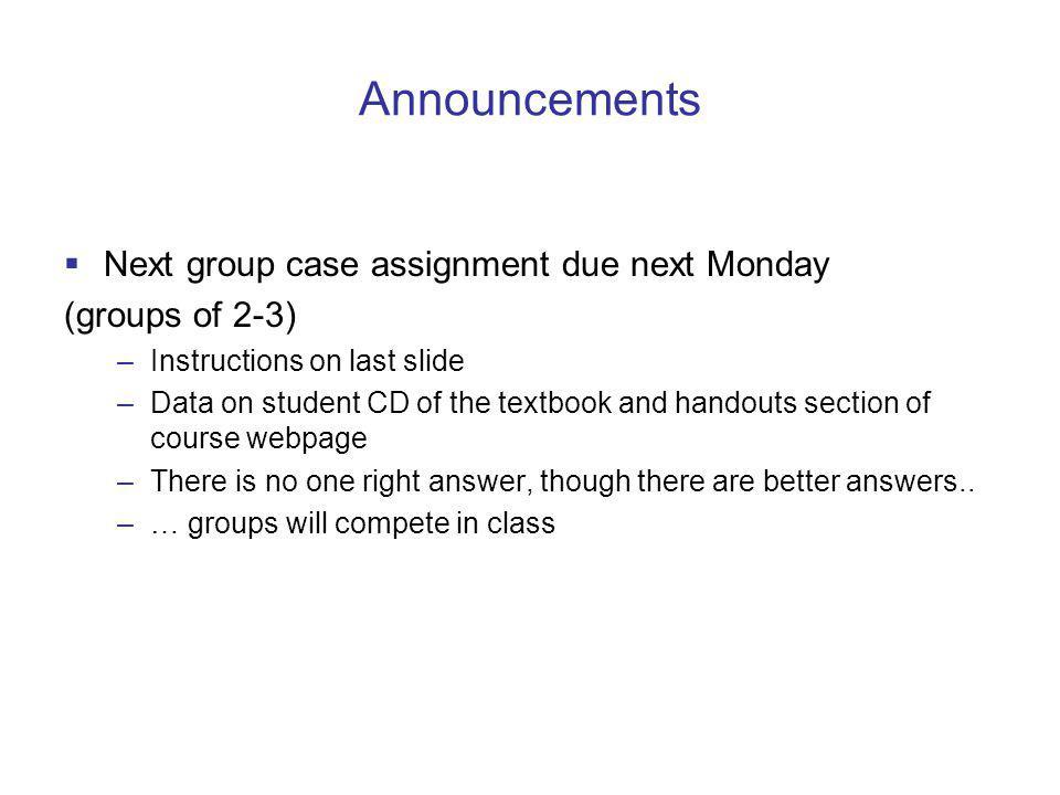 Announcements Next group case assignment due next Monday
