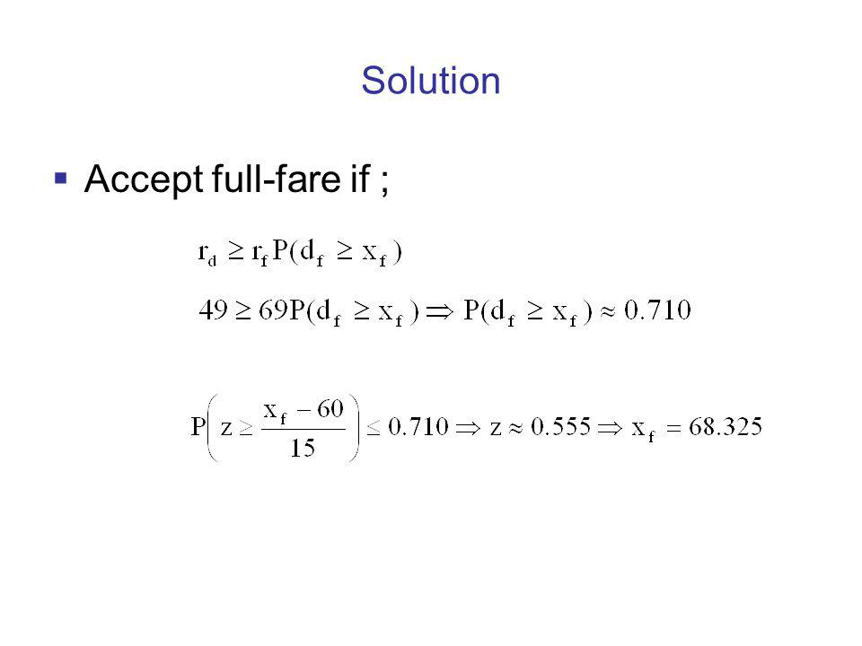 Solution Accept full-fare if ;
