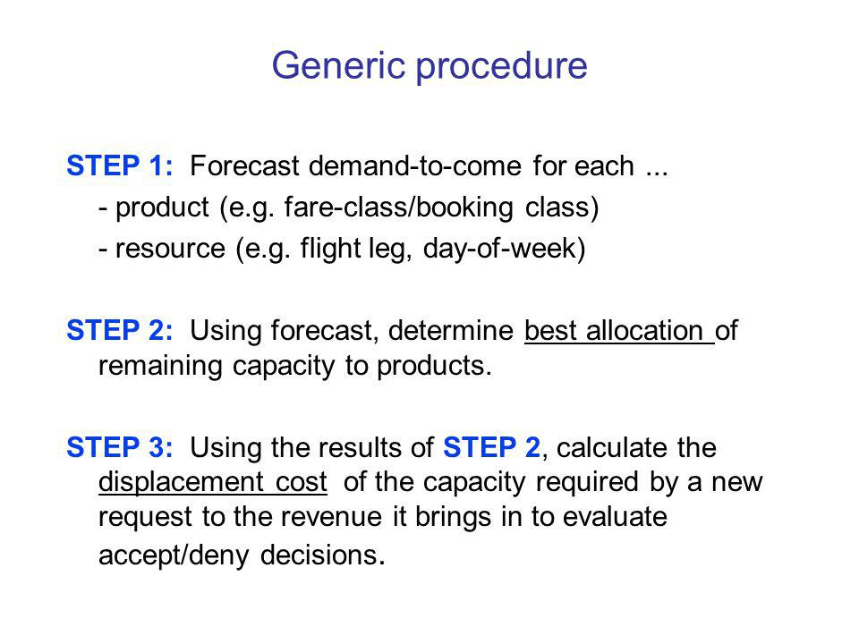 Generic procedure STEP 1: Forecast demand-to-come for each ...