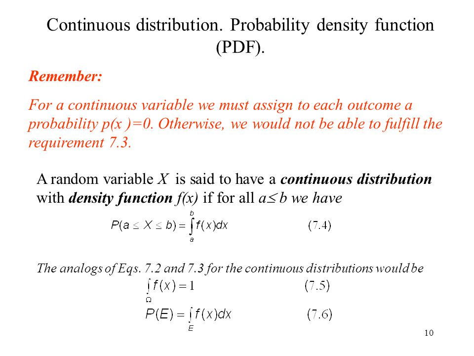 Continuous distribution. Probability density function (PDF).