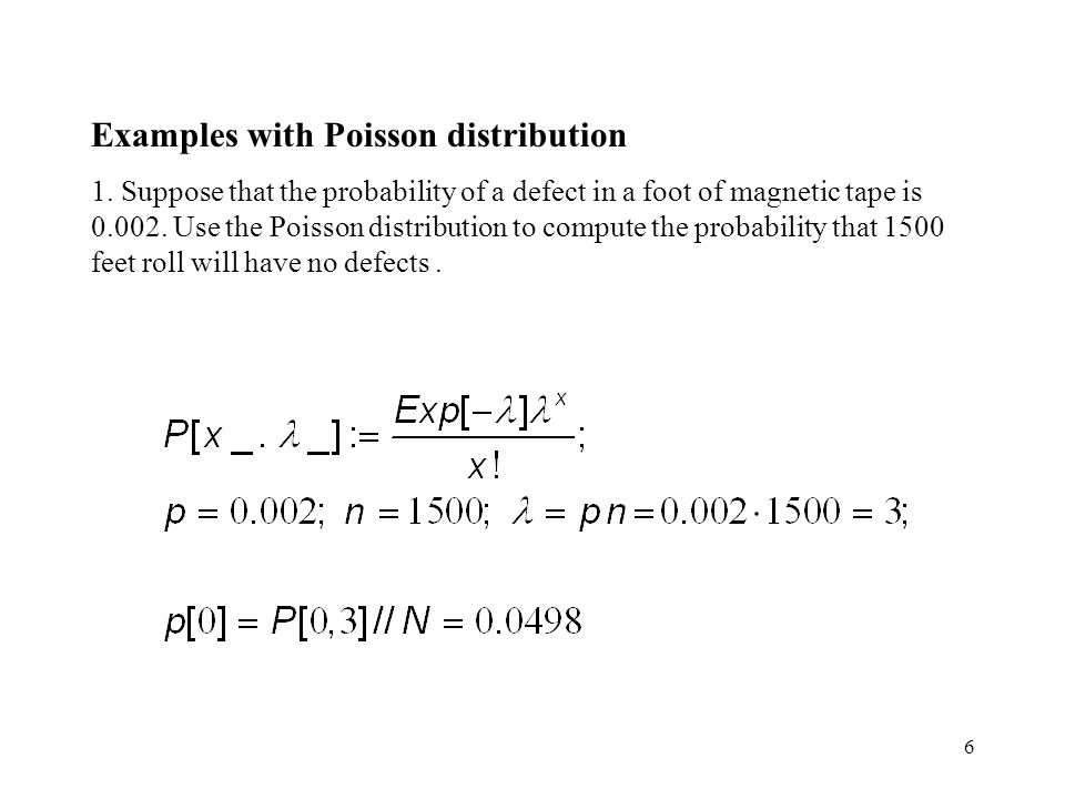 Examples with Poisson distribution