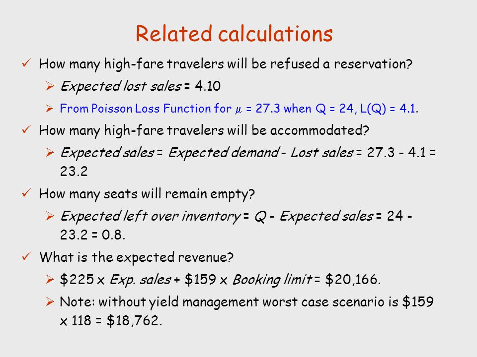 Related calculations How many high-fare travelers will be refused a reservation Expected lost sales = 4.10.