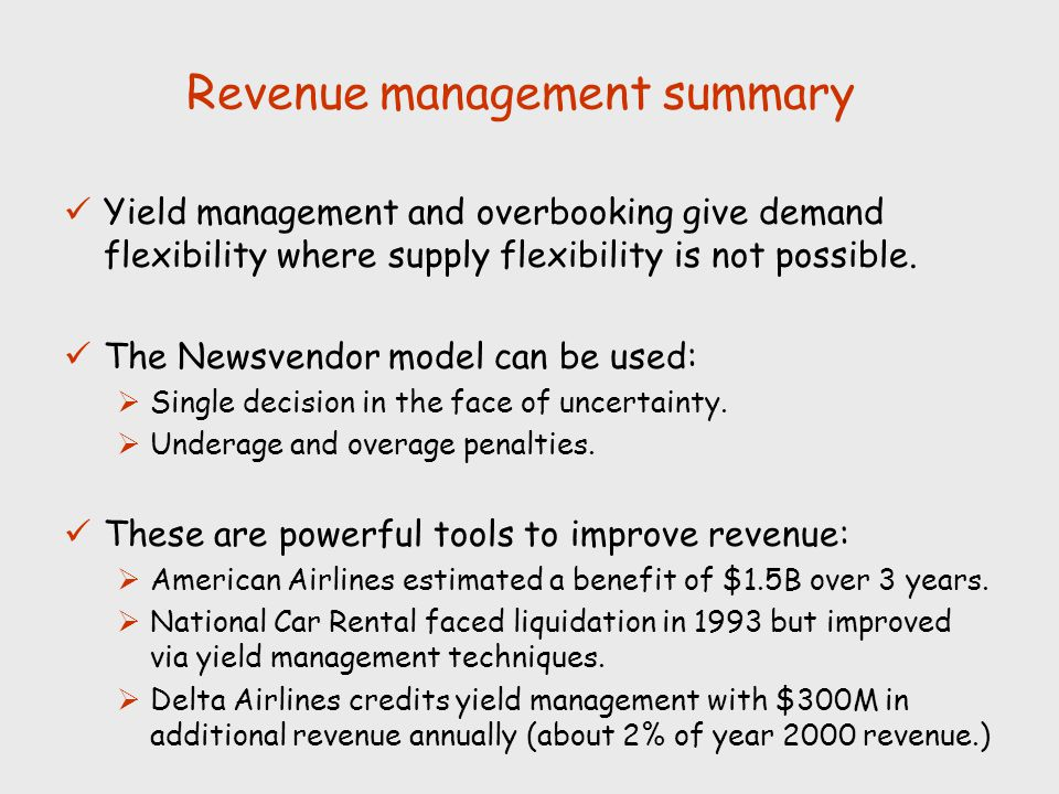 Revenue management summary