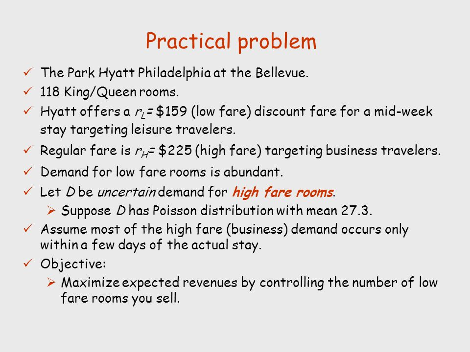 Practical problem The Park Hyatt Philadelphia at the Bellevue.