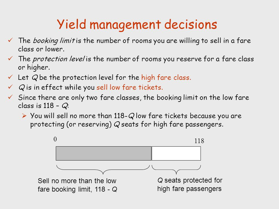 Yield management decisions