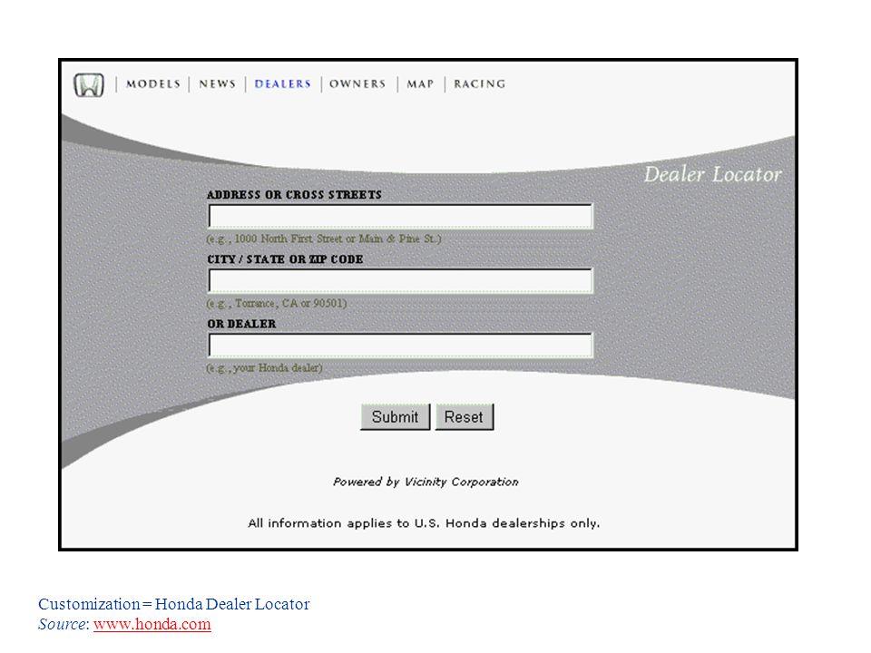 Customization = Honda Dealer Locator