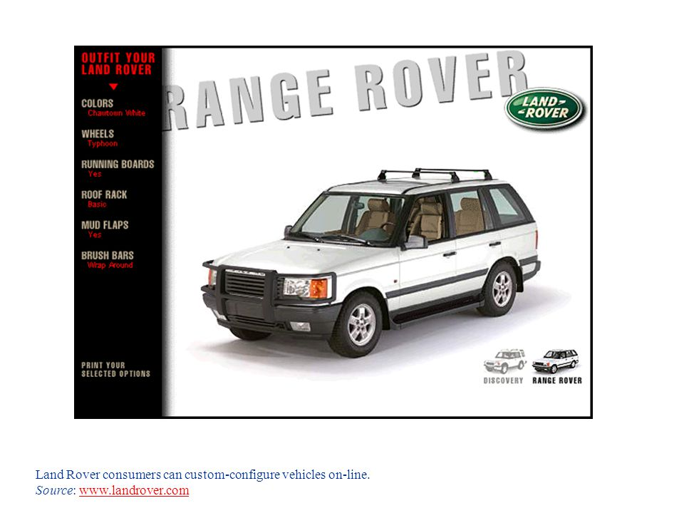 Land Rover consumers can custom-configure vehicles on-line.